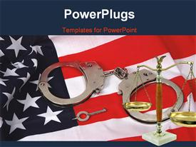 Flag and handcuffs powerpoint design layout
