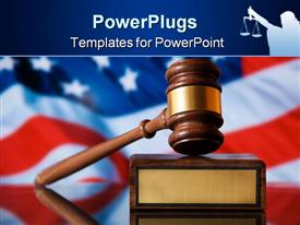PowerPoint template displaying wooden justice gavel and block with brass