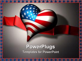 PowerPoint template displaying 3D heart with American flag and red ribbon, star and stripe border, USA, patriotic