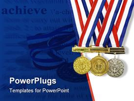 PowerPoint template displaying gold, silver and bronze achievement medals on a white and blue background