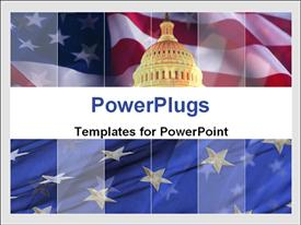 PowerPoint template displaying the representation of Pentagon with American flag in background