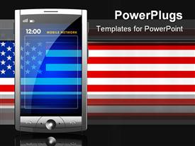 PowerPoint template displaying touch screen smart phone in front of US flag