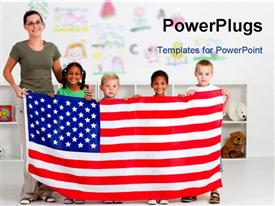 PowerPoint template displaying smiling teacher with four little kids holding up American flag