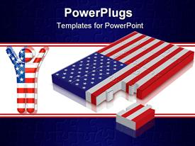 PowerPoint template displaying a number of puzzle pieces making the American flag