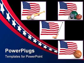 PowerPoint template displaying american flags next to baseball, football, basketball, and hockey gear