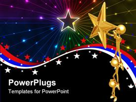 PowerPoint template displaying a 3D depiction of stars and figures holding star with multiple colored background