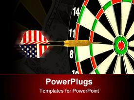 PowerPoint template displaying dart with American flag flight about to hit center of target