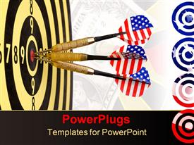 PowerPoint template displaying three darts with American flag flights hit center of dartboard