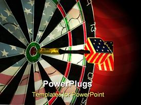 USA dart hitting the bulls eye on target powerpoint theme