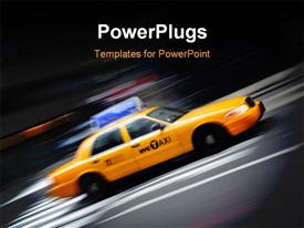 PowerPoint template displaying motion blur depiction of yellow Taxi in New York