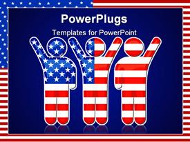 PowerPoint template displaying american flag in the shape of sports podium winners in the background.