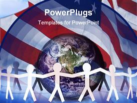 PowerPoint template displaying american unity and the world at peace in the background.