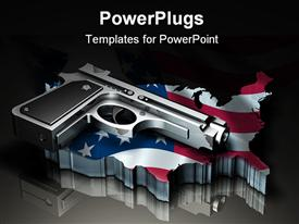 PowerPoint template displaying large metallic hand gun sitting on top of a flat transparent map of the United States