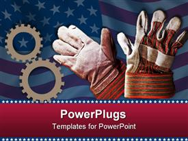 PowerPoint template displaying american work force metaphor with flag, gears, work gloves
