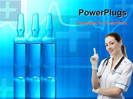 Ampoules filled with medicine and EKG in background powerpoint template