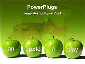 PowerPoint template displaying four green apples with words An Apple A Day in front of measuring tape