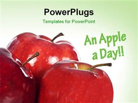Tore red apples with space for text template for powerpoint