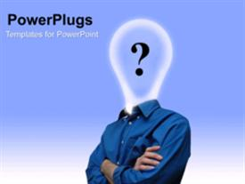 PowerPoint template displaying a short video of an adult male with a bulb for a head