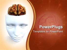 PowerPoint template displaying a dissected anatomical view of a white 3D human brain