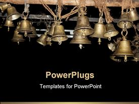 PowerPoint template displaying beautiful bells made of brass hung in an ancient Hindu temple in India in the background.