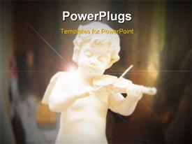 PowerPoint template displaying a a white figuring of an angel playing a violin