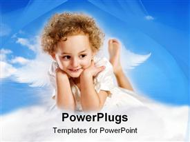 PowerPoint template displaying little curly girl with fairy wings lies on cloud against blue sky in the background.