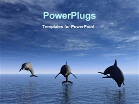PowerPoint template displaying dolphins swimming ocean jumping dolphins blue skies