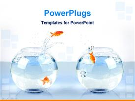 Gold fish jump one bowl to another bowl powerpoint template