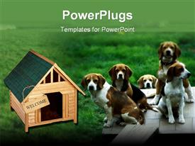 PowerPoint template displaying five dogs sitting in grass next to dog house with welcome sign