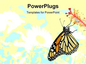 PowerPoint template displaying butterfly on a plant flower with floral pattern on bright cream background