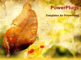PowerPoint template displaying vintage butterfly