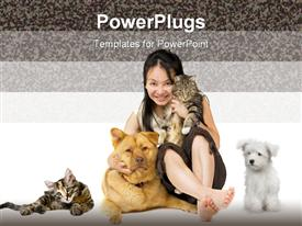 PowerPoint template displaying girl holding cat hugging large dog