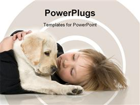 PowerPoint template displaying small child laying on floor with Labrador retriever puppy