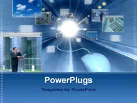 PowerPoint template displaying graphics of a man with a wired muse on a blue background