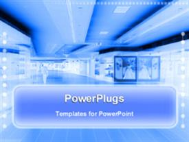 PowerPoint template displaying blue infrared view of an animated shopping mall