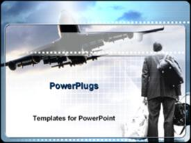 PowerPoint template displaying travel theme with man holding luggage while airplane flies overhead