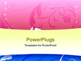 PowerPoint template displaying abstract depiction of pink and blue floral design background