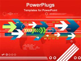 PowerPoint template displaying white blue and green animated arrows on red background
