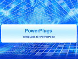 PowerPoint template displaying white lines forming mesh animated on blue background
