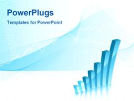 PowerPoint template displaying animated business background showing bar chart in the background.