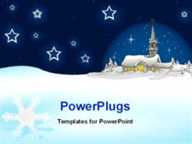 PowerPoint template displaying animated depiction of Christmas night in the background.