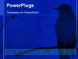 PowerPoint template displaying a shadow of the bird with a digital frame