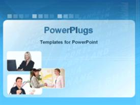 PowerPoint template displaying a number of businessman together for deals