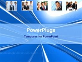 PowerPoint template displaying business persons in different moods in the background.