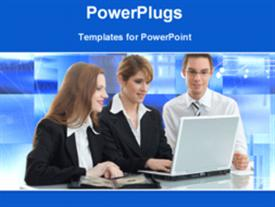 PowerPoint template displaying business people gathered around laptop with animated background