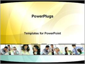PowerPoint template displaying business teamwork in the background.
