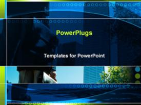 PowerPoint template displaying businessman with briefcase in front of buildings in the background.