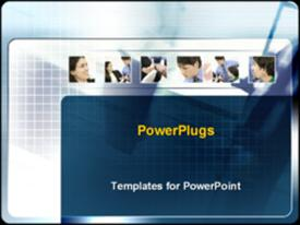 PowerPoint template displaying businessmen and woman working together in the background.