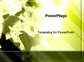 Businesswoman on cell phone powerpoint design layout