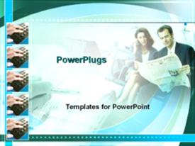 PowerPoint template displaying different tiles with blurry images of a man and a lady